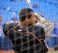 Orioles outfielder Adam Jones takes batting practice before the AL Wild Card Game. (30056429222).jpg