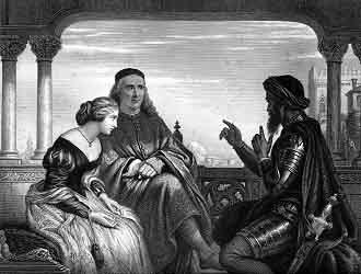 Brabantio - Brabantio with Desdemona and Othello in a steel engraving of a painting by Charles West Cope, (1873)