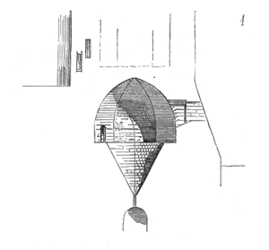 Dungeon - Diagram of alleged oubliette in the Paris prison of La Bastille from Dictionary of French Architecture from 11th to 16th Century (1854–1868), by Eugène Viollet-le-Duc; the commentary speculates that this may in fact have been built for storage of ice.