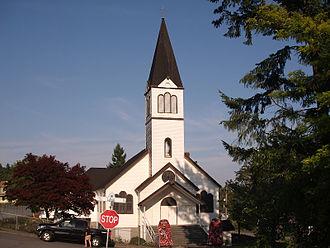 Maillardville - Notre Dame de Lourdes Church on Laval Square