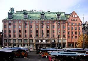 PUB (Stockholm) - The main building comprising PUB departments stores at Hötorget, Stockholm city. Photo: 2006.