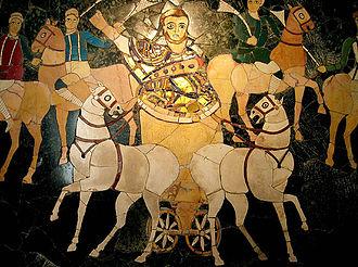 Biga (chariot) - The consul advances in his biga at the pompa circensis (4th century, opus sectile from the Basilica of Junius Bassus)