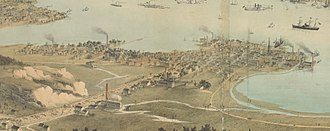 Jersey City, New Jersey - Panorama of Jersey City in 1854