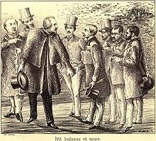 Fortuné Henry (se fue con el sombrero en la mano) y el dibujanteOscar Avrial(a la derecha con los pinceles en la mano) después de la segunda prueba dePanurge.Dibujo publicado en elNº56 del 15/12/1861 dePanurge.