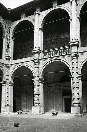 Bentivoglio family - Loggias of Palazzo Bentivoglio, via delle Belle Arti, Bologna. Photo by Paolo Monti, 1969