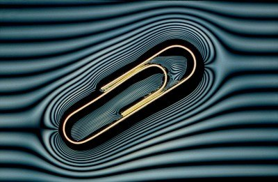 Paperclip floating on water (with %27contour lines%27)