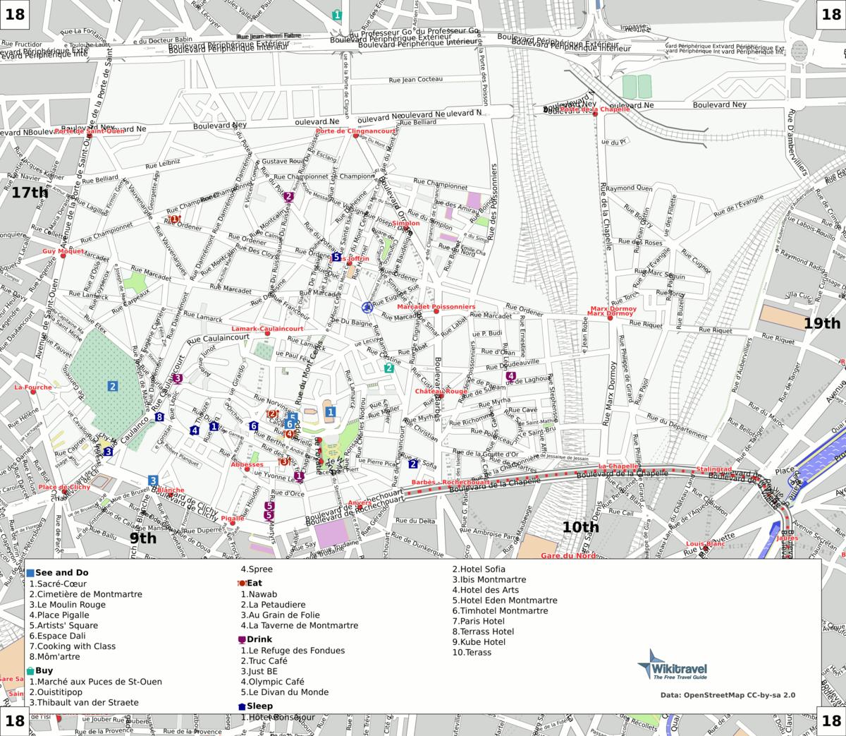 Connu Liste der Straßen und Plätze im 18. Arrondissement (Paris) – Wikipedia MR71