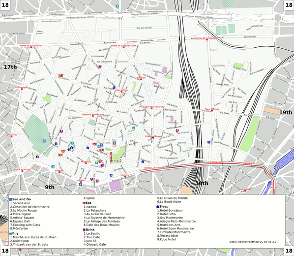 Map of Paris/18th arrondissement