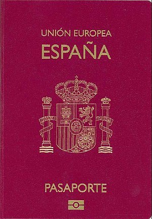 Spanish passport - Front cover of a contemporary Spanish biometric passport
