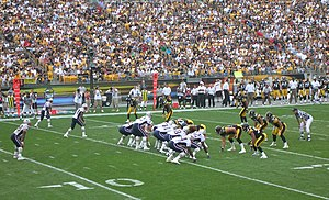 Single set back - The New England Patriots in the single-back formation against the Pittsburgh Steelers in 2005