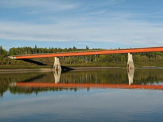 Fort Vermilion - A side view of the Fort Vermilion Bridge crossing the Peace River