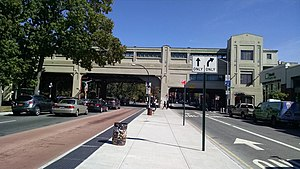 Pelham Parkway (IRT White Plains Road Line) - Street entrance, as seen from the eastbound Pelham Parkway