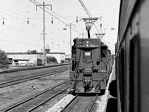 Pennsylvania Railroad class E44 - A Penn Central E44 on the Northeast Corridor in 1972.