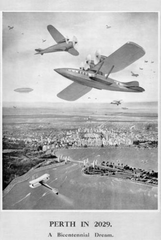 """Centenary of Western Australia - In 1929 the Western Mail published a Centenary Issue """"2029 Perth"""" which included a 1929 artist's conception of what Perth would look like in 2029."""