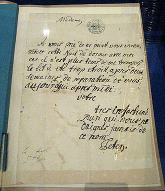 Peter III of Russia - Peter's letter to his wife in French, the language of the Russian aristocracy