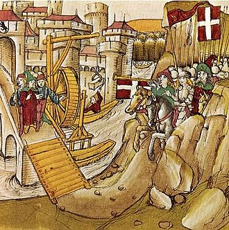 Barony of Vaud - Peter, first Savoyard ruler of Vaud, extended his protection as far as Bern, where he is shown here greeting the citizens after their construction of a new bridge over the Aar.
