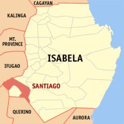 Map of Isabela highlighting the location of Santiago