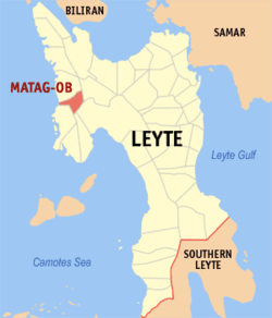 Map of Leyte with Matag-ob highlighted