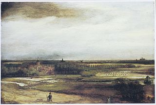 View of Saxenburg estate with bleaching fields near Haarlem