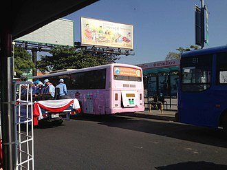 Line 03 (Phnom Penh Bus Rapid Transit) - Line 3 bus parked at Night Market terminus on Sisowath Quay