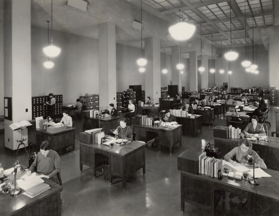 Photograph of the Division of Classification and Cataloging, 1937