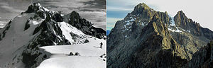Pico Bolívar - Comparison between the mountain's glacier, 1950 and 2011 respectively.