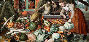 A Meat Stall with the Holy Family Giving Alms - Aertsen's paintings of fruit and vegetable stalls, such as Market Scene (pictured), are similar in composition to that of A Meat Stall with the Holy Family Giving Alms.