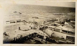 Tel Aviv Port - The site of the future port with the Levant Fair and Cafe Galina (ca. 1934)