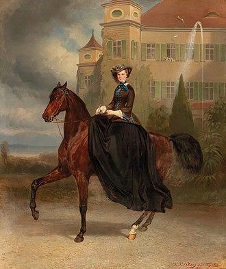 Possenhofen Castle - Equestrian portrait of teenage Sisi at Possenhofen Castle, 1853