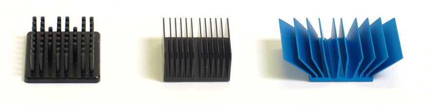 Heat sink types: Pin, Straight, and Flared Fin Pin fin, straight fin and flared heat sinks.png