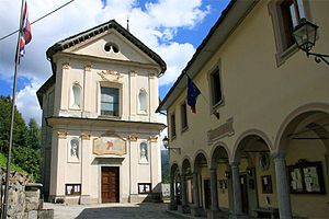 Piode - Parish Church and town Hall