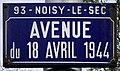 Plaque Avenue 18 Avril 1944 - Noisy-le-Sec (FR93) - 2021-04-16 - 1.jpg