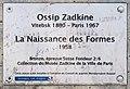 Plaque statue Ossip Zadkine boulevard Edgar-Quinet Paris.jpg