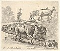 Plate 9- a cow ascending a bank, a peasant woman leading two cows across a bridge in background, from 'Diversi capricci' MET DP833186.jpg