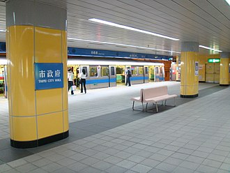 Taipei City Hall metro station - Platform prior to installation of platform gates
