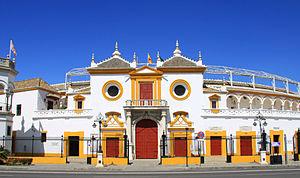 Bullring - Façade of the oldest bullring in Spain, La Maestranza, in Seville.