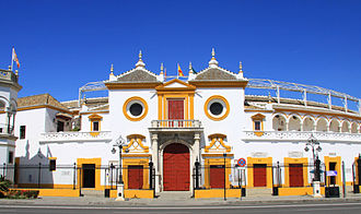 Bullring - Façade of the oldest bullring in Spain, La Maestranza, in Seville.