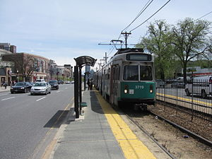 "Green Line (MBTA) - ""B"" Branch along Commonwealth Avenue"