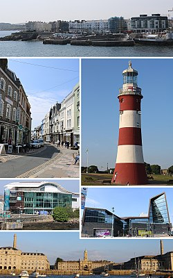 In senso orario dall'alto: Ovest Hoe, Torre di Smeaton, Università di Plymouth, Royal William Yard, National Marine Aquarium, Southside St, Barbican