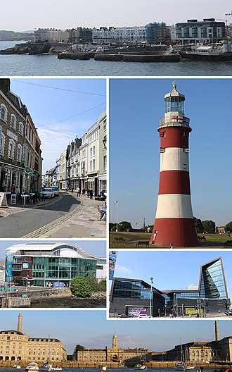 Plymouth - Clockwise from top: West Hoe, Smeaton's Tower, University of Plymouth, Royal William Yard, National Marine Aquarium, Southside St, Barbican