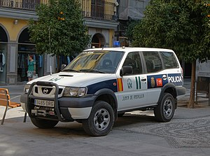Police car andalusia orange tree