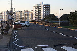 Parking space - Angle parking along the Southsea seafront, England.