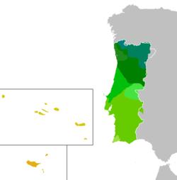 Mapa da extensão geográfica dos dialetos do português europeu