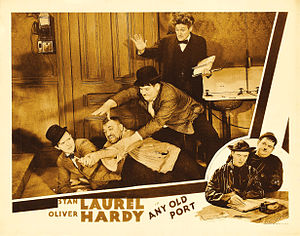 1932 in film - Lobby card for the 1932 Laurel and Hardy short film Any Old Port!.