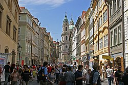 Packed with tourists on a busy summer day in Malá Strana (Lesser Quarter), Prague