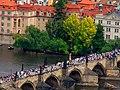 Praha - Petřinská rozhledna - View ENE on Charles' Bridge.jpg