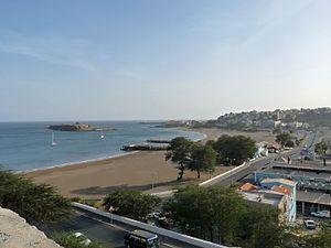 Gamboa, Praia - Panoramic view of Gamboa and Ilhéu de Santa Maria