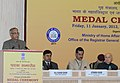 Pranab Mukherjee addressing at the Medal Ceremony organized by the Office of the Registrar General & Census Commissioner, India, in New Delhi. The Union Home Minister, Shri Sushil Kumar Shinde.jpg