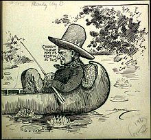 Caricature of Coolidge fishing on the lake.