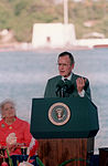 President George Bush speaks during the observance of the 50th anniversary of the Japanese attack on Pearl Harbor.jpg